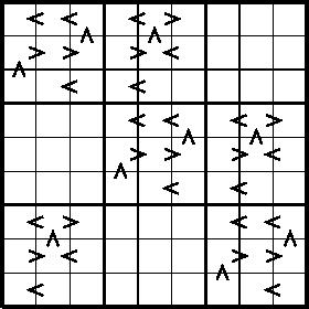 $\tikz[scale=.06]{ \draw [ultra thick] (0,0)--(0,90)--(90,90)--(90,0)--(0,0); \draw(0,10)--(90,10); \draw(0,20)--(90,20); \draw [very thick](0,30)--(90,30); \draw(0,40)--(90,40); \draw(0,50)--(90,50); \draw [very thick](0,60)--(90,60); \draw(0,70)--(90,70); \draw(0,80)--(90,80); \draw(10,0)--(10,90); \draw(20,0)--(20,90); \draw [very thick](30,0)--(30,90); \draw(40,0)--(40,90); \draw(50,0)--(50,90); \draw [very thick](60,0)--(60,90); \draw(70,0)--(70,90); \draw(80,0)--(80,90); \draw[thick](12,83.4)--(8,85)--(12,86.6); \draw[thick](22,83.4)--(18,85)--(22,86.6); \draw[thick](42,83.4)--(38,85)--(42,86.6); \draw[thick](48,83.4)--(52,85)--(48,86.6); \draw[thick](23.4,78)--(25,82)--(26.6,78); \draw[thick](43.4,78)--(45,82)--(46.6,78); \draw[thick](8,73.4)--(12,75)--(8,76.6); \draw[thick](18,73.4)--(22,75)--(18,76.6); \draw[thick](38,73.4)--(42,75)--(38,76.6); \draw[thick](52,73.4)--(48,75)--(52,76.6); \draw[thick](3.4,68)--(5,72)--(6.6,68); \draw[thick](22,63.4)--(18,65)--(22,66.6); \draw[thick](42,63.4)--(38,65)--(42,66.6); \draw[thick](42,53.4)--(38,55)--(42,56.6); \draw[thick](52,53.4)--(48,55)--(52,56.6); \draw[thick](72,53.4)--(68,55)--(72,56.6); \draw[thick](78,53.4)--(82,55)--(78,56.6); \draw[thick](53.4,48)--(55,52)--(56.6,48); \draw[thick](73.4,48)--(75,52)--(76.6,48); \draw[thick](38,43.4)--(42,45)--(38,46.6); \draw[thick](48,43.4)--(52,45)--(48,46.6); \draw[thick](68,43.4)--(72,45)--(68,46.6); \draw[thick](82,43.4)--(78,45)--(82,46.6); \draw[thick](33.4,38)--(35,42)--(36.6,38); \draw[thick](52,33.4)--(48,35)--(52,36.6); \draw[thick](72,33.4)--(68,35)--(72,36.6); \draw[thick](72,23.4)--(68,25)--(72,26.6); \draw[thick](82,23.4)--(78,25)--(82,26.6); \draw[thick](83.4,18)--(85,22)--(86.6,18); \draw[thick](68,13.4)--(72,15)--(68,16.6); \draw[thick](78,13.4)--(82,15)--(78,16.6); \draw[thick](63.4,8)--(65,12)--(66.6,8); \draw[thick](82,3.4)--(78,5)--(82,6.6); \draw[thick](12,23.4)--(8,25)--(12,26.6); \draw[thick](18,23.4)--(22,25)--(18,26.6); \draw[thick](13.4,18)--(1