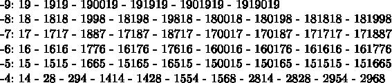$  -9:      19 - 1919 - 190019 - 191919 - 1901919 - 1919019  -8:       18 - 1818 - 1998 - 18198 - 19818 - 180018 - 180198 - 181818 - 181998   -7:       17 - 1717 - 1887 - 17187 - 18717 - 170017 - 170187 - 171717 - 171887  -6:        16 - 1616 - 1776 - 16176 - 17616 - 160016 - 160176 - 161616 - 161776  -5:       15 - 1515 - 1665 - 15165 - 16515 - 150015 - 150165 - 151515 - 151665   -4:       14 - 28 - 294 - 1414 - 1428 - 1554 - 1568 - 2814 - 2828 - 2954 - 2968  $
